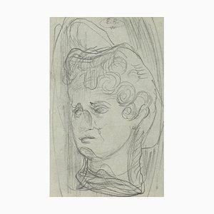 Eugène Berman, Masked Head, 1950s, Original Drawing in Pencil