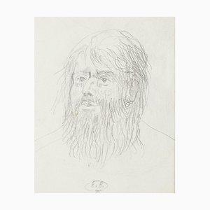 Eugène Berman, Kopf eines Mannes, 1950er, Original Bleistiftzeichnung