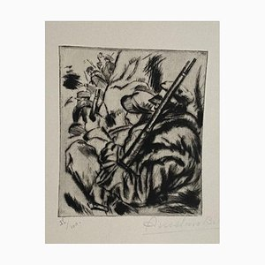 Anselmo Bucci, Military, 1917, Original Etching