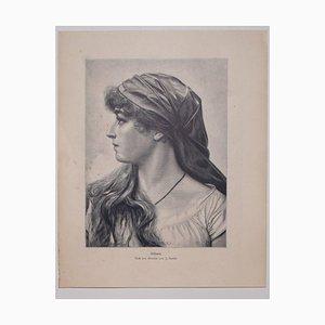 nach Frantisek Zenisek, Frauengesicht, 1905, Original Zinkographie