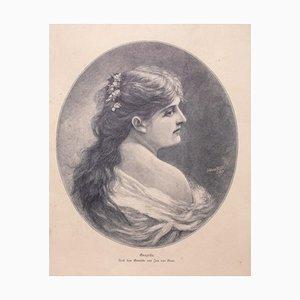 """Jan van Beers, Woman""""s Portrait, 1905, Original Zincography"""