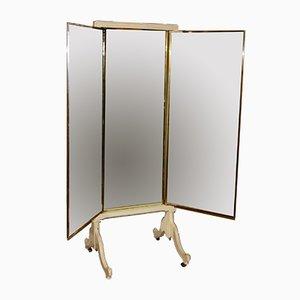 Großer Freistehender Französischer Triptychon Spiegel
