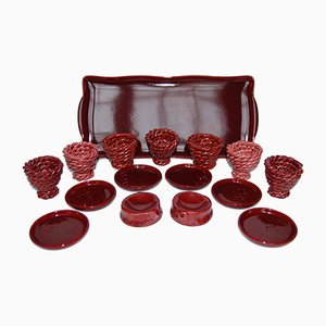 Red Basket Weave Egg Cup and Saucer Set by Louis Bacculini Vallauris, Set of 7