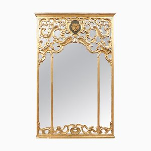 Antique Gilded Carved Mirror with Putto, 1700, Italy