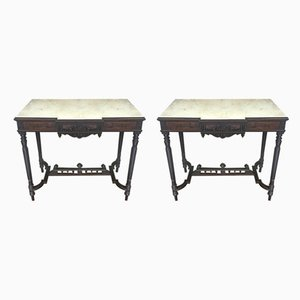 Rosewood Console Tables, Set of 2