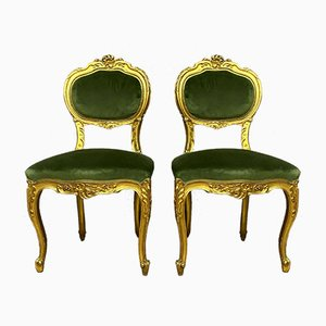 Louis XV Gilded Wood Harpist's Dining Chairs, 1850s, Set of 2