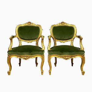 Louis XV Cabriolet Armchairs in Giltwood, Set of 2