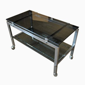 Chromed Metal Trolley with Double Smoked Glass Top, 1970s
