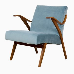 Mid-Century Duck Egg Blue Upholstery Armchair from Tatra