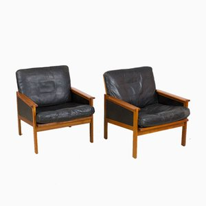 Danish Teak Capella Lounge Chairs & Coffee Table by Illum Wikkelsø for Niels Eilersen, 1950s, Set of 3