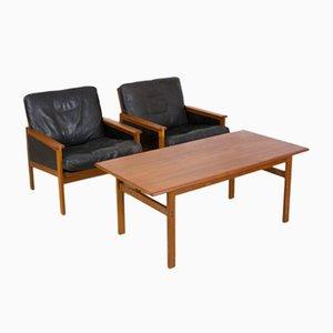 Danish Teak Capella Lounge Chairs & Coffee Table by Illum Wikkelsø for Niels Eilersen, 1950s, Set of 3
