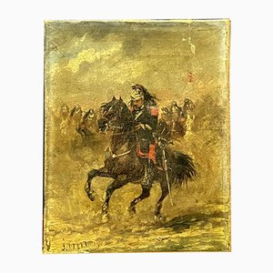 Jules Delaunay, the Cuirassier of the Empire and His Mount, Oil on Canvas
