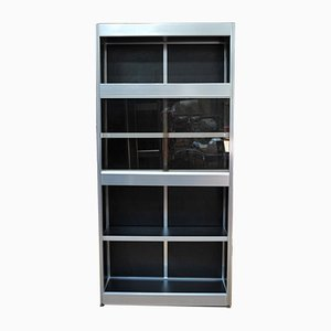 Aluminium & Wood Showcase Shelf with Glass Doors, 1970s