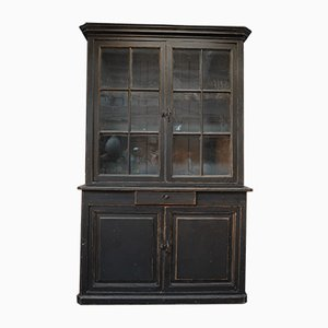 Black Fir 2-Part Buffet with 4 Doors and Drawer, 1920s
