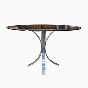 Chromed Metal & Smoked Glass Dining Table, 1970s