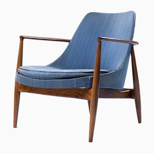 Lounge Chair in Walnut and Fabric Attributed to Ib Kofod-Larsen, Denmark, 1960s