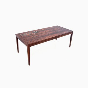 Danish Rosewood Coffee Table with Ceramic, 1960s
