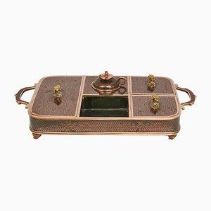 Antikes chinesisches Raucher Tablett aus Cloisonné Bronze mit schwarzer Emaille