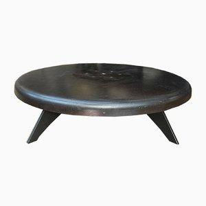 Vintage Industrial Metal Round Coffee Table, 1920s