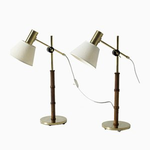 Swedish Rosewood & Brass Table Lamps from Falkenbergs Belysning, 1960s, Set of 2