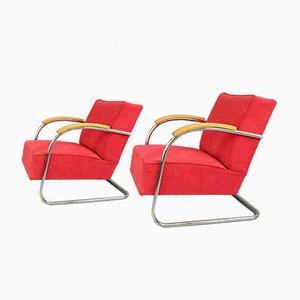 Bauhaus Armlehnstühle von Mücke Melder, 1930er, 2er Set