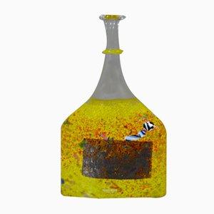 Swedish Blown Glass Bottle by Bertil Vallien for Kosta Boda, 1960s