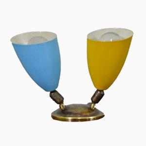 Kleine italienische Metall & Messing Wandlampe mit 2 Leuchten, 1950er