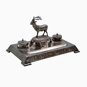 Antique Silver Plate Stag Inkwell Stand from James Deakin