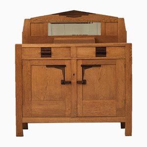 Art Deco Amsterdamse School Bar Cabinet in Solid Oak and Coromandel, 1930s