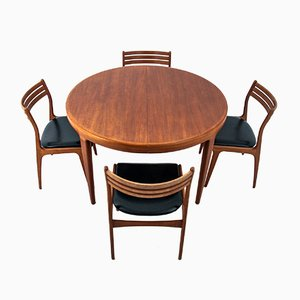 Danish Dining Table & Chairs Set, 1960s, Set of 5