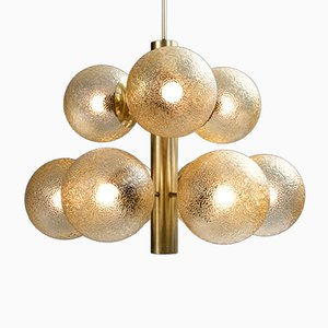 Sputnik Chandeliers in Tinted Glass and Brass, 1964, Set of 3
