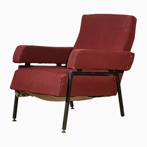 Vintage Italian Red & Black Iron Lounge Chair with Square Arms, 1960s