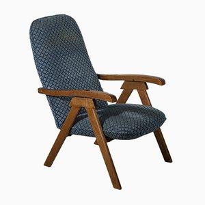 Italian Folding Deck Chair with Fabric, 1980s