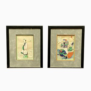 Animated Characters in Flamboyant Colors, China, 19th Century, Gouaches, Set of 2