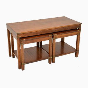 Military Campaign Style Mahogany Nesting Tables, 1950s, Set of 3
