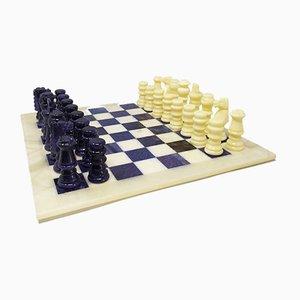 Handgemachtes italienisches Schachspiel in Volterra Alabaster, 1970er, 33er Set