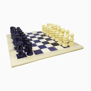 Italian Handmade Blue and Beige Chess Set in Volterra Alabaster, 1970s, Set of 33