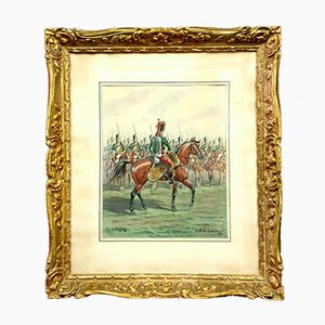 the Review of Infantry under the Empire, French School, 19th Century, Watercolor