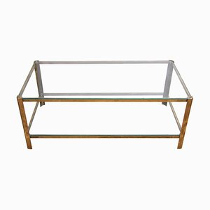 Glass and Brass Coffee Table from Jacques Quinet, 1960s