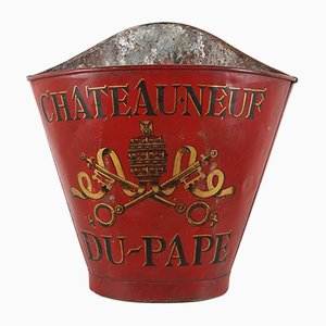 Antique French Hand-Painted Metal Chateau Neuf-du-Pape Grape Hod