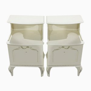 White Bedsides Cabinets, 1960s, Set of 2