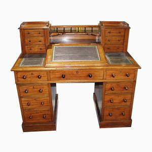 Antique Mahogany Wootton Pedestal Desk with Green Leather, 1900s