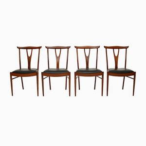 Vintage Rosewood & Afromosia Dining Chairs, 1960s, Set of 4