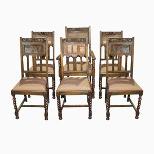 Oak Barley Twist Dining Chairs with Cane Backs, 1920s, Set of 6