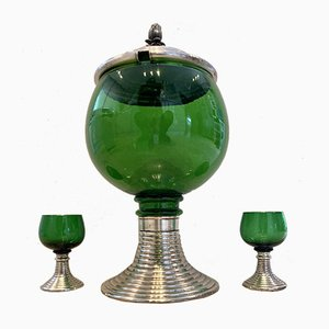 Mid-Century French Green Glass Punch Bowl with Top & Cups or Glasses, 1950s, Set of 3