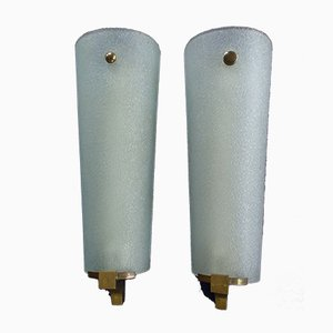 Large Brass & Arched Cracked Glass Sconces, 1940s, Set of 2