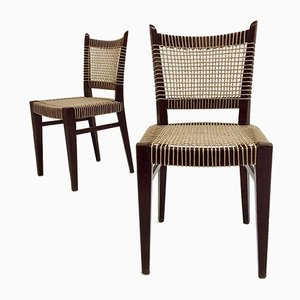 Mid-Century French Straw and Wood Dining Chairs, 1950s, Set of 2