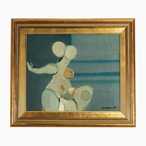 French Abstract Oil on Canvas, 1974