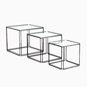 Vintage French Cube Metal Isocele Nesting Tables by Max Sauze for Atrow, 1980s, Set of 3