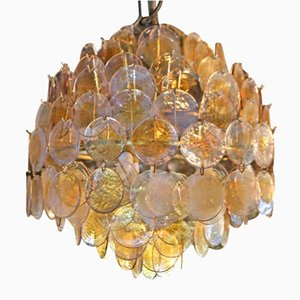 Mid-Century Murano Disc Chandelier by Carlo Nason for Mazzega, 1970s
